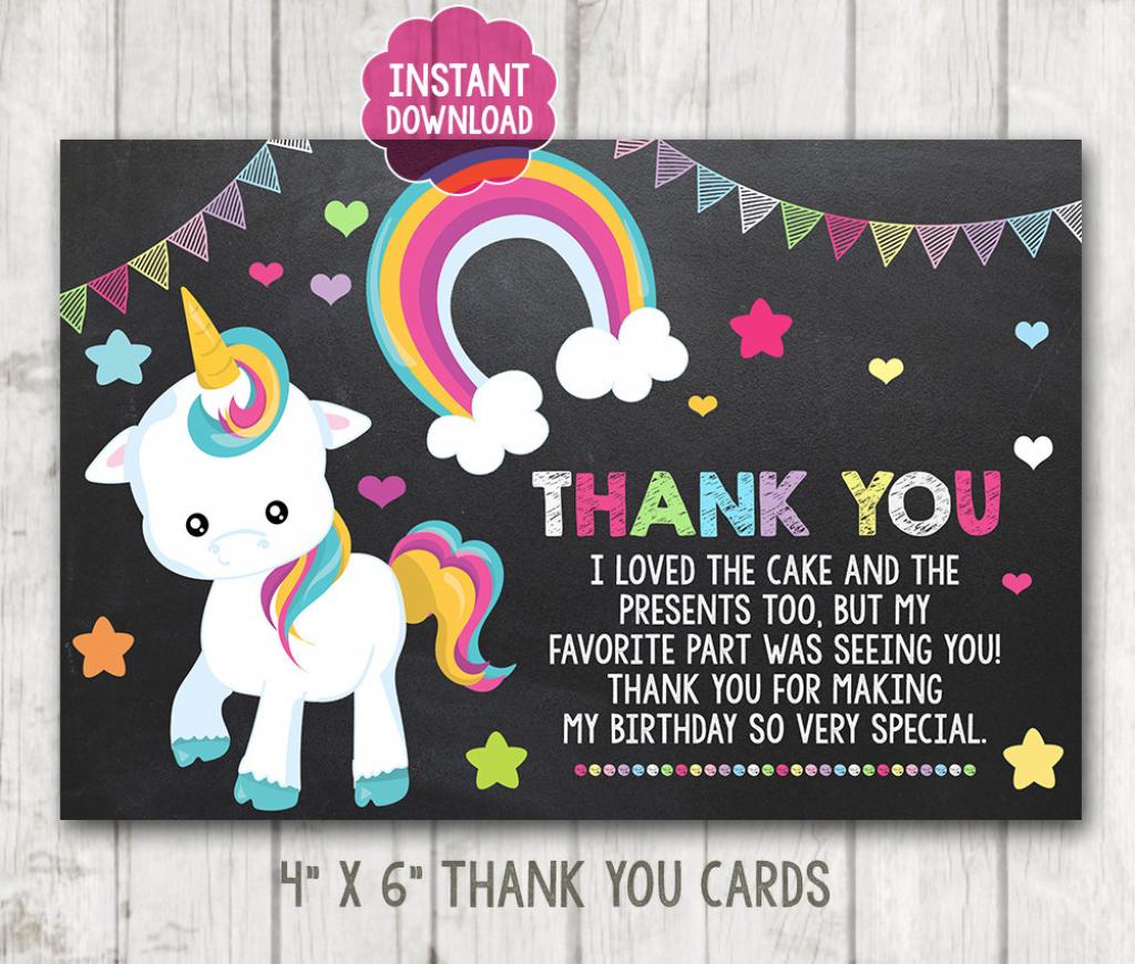 Instant Download Printable Chalkboard Unicorn Thank You Cards | Horse Thank You Cards Printable