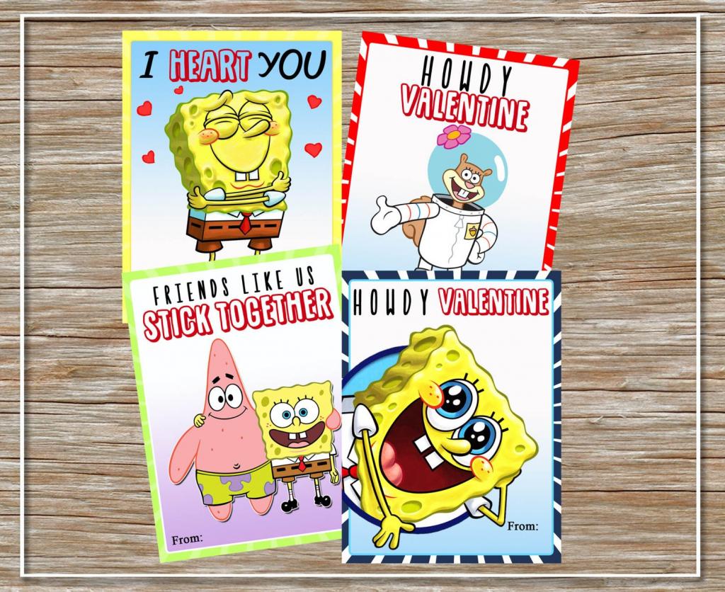 Instant Download Printable Spongebob Valentine Cards Set | Etsy | Spongebob Valentine Cards Printable