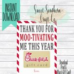Instant Download*thank You For Moo Tivating Me This Year!chick Fil A | Chick Fil A Printable Gift Card