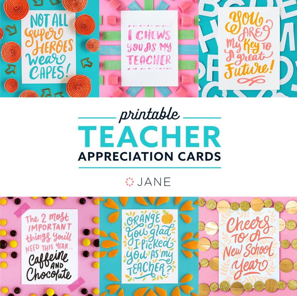 Jane Free Teacher Appreciation Printable Cards | Teacher - Free | Free Printable Teacher Appreciation Cards