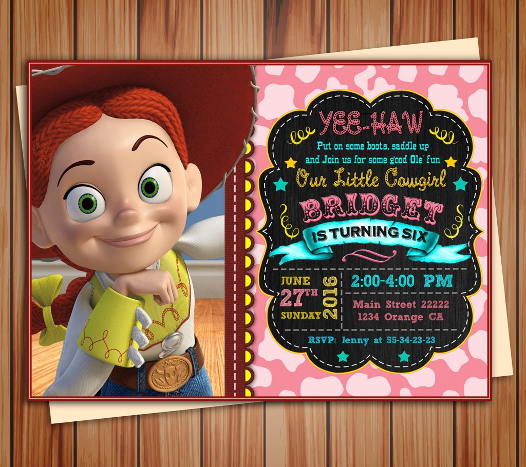 Jessie Cowgirl Toy Story Birthday Photo Invitation Chalkboard | Etsy | Toy Story Birthday Card Printable Free