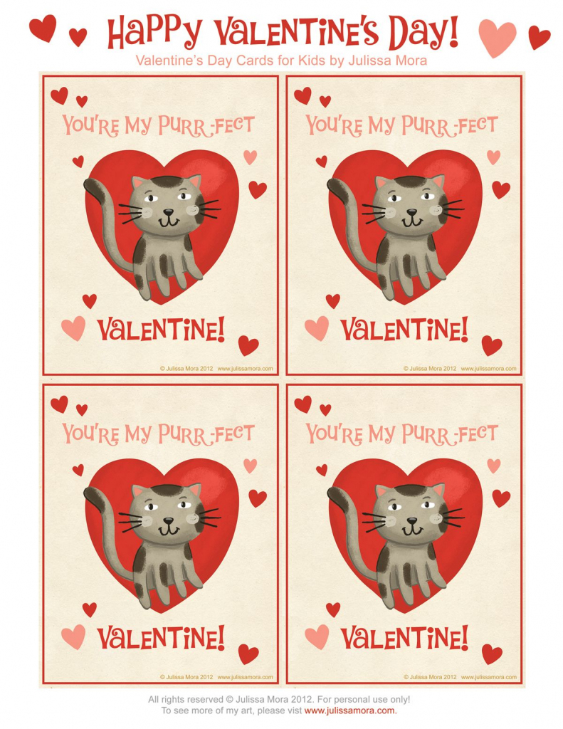 Kids Cat Valentines | Julissa Mora: Free Valentine's Day Cards For | Free Printable Cat Valentine Cards