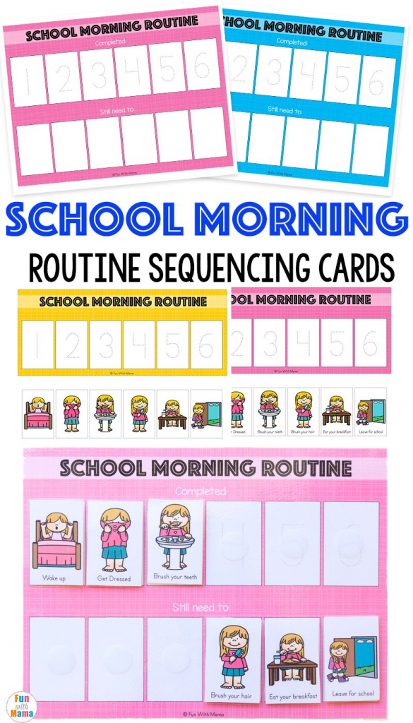 Kids Schedule Morning Routine For School | Fun With Mama Blog Posts | Free Printable Daily Routine Picture Cards