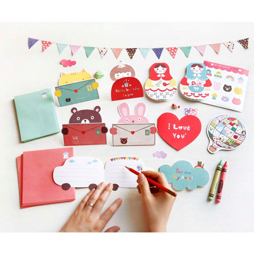 Korean Greeting Card Set, Cute Matryoshka Dolls, Patchwork Air | Korean Birthday Cards Printable