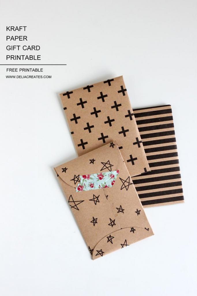 Kraft Paper Gift Card Envelope Free Printable | Diy: Gift Wrapping | Gift Card Printable Envelope