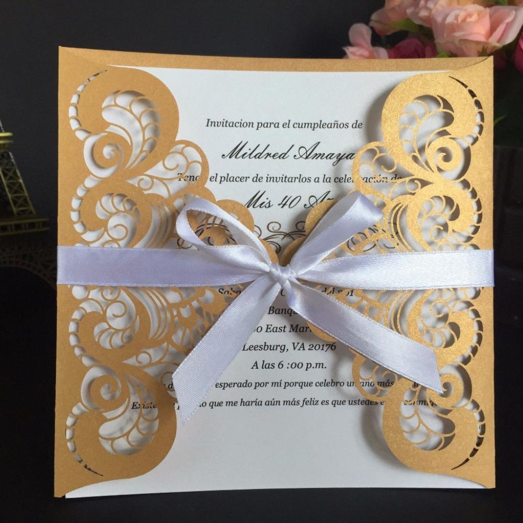 Leeft 10Pc Laser Cut Wedding Invitations Cards Elegant Rsvp Cards | Korean Birthday Cards Printable