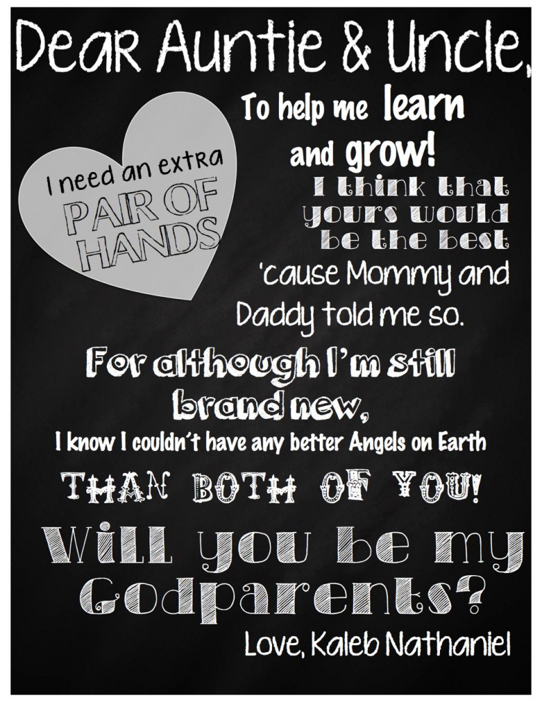 Letter For Godparents, Baptism, Request, Will You Be My Godparents | Will You Be My Godfather Printable Card