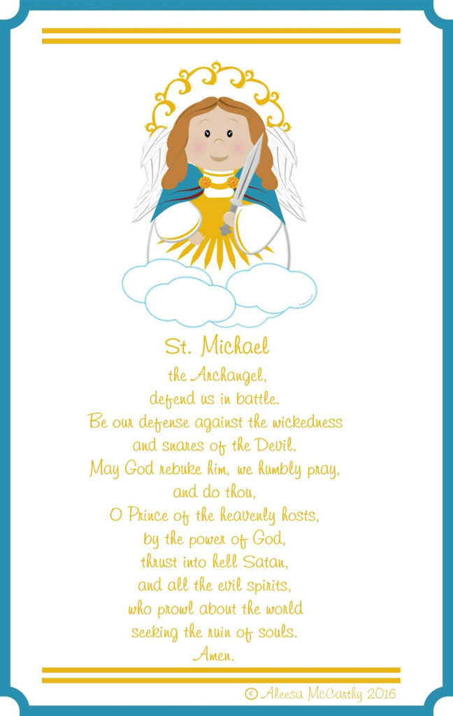 Life, Love, & Sacred Art: St. Micheal The Arch Angel Free Printable | St Michael Prayer Card Printable