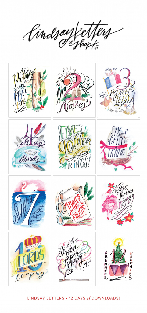 Lindsay Letters 12 Days Of Christmas Printables! | Shop | 12 Days Of Christmas Cards Printable