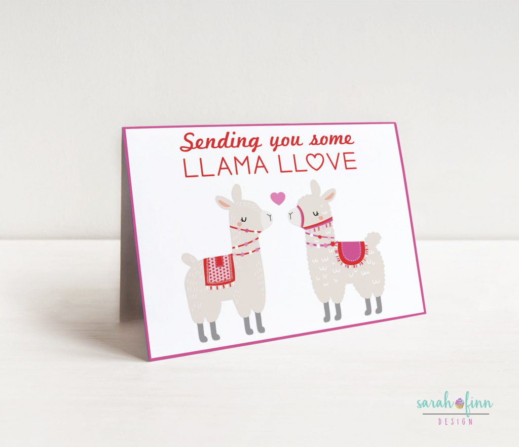 Llama Valentine's Day Card Alpaca Card Funny Card Valentine | Valentines Cards For Her Printable