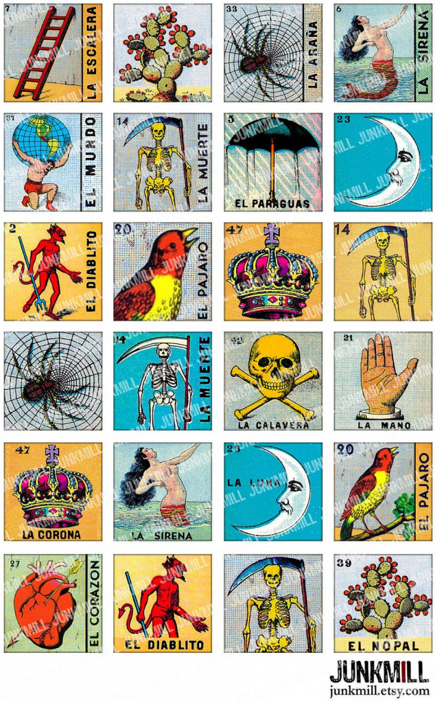 Loteria - Collage Sheet - Vintage Loteria Cards, Mexican Bingo, Day | Loteria Printable Cards Free