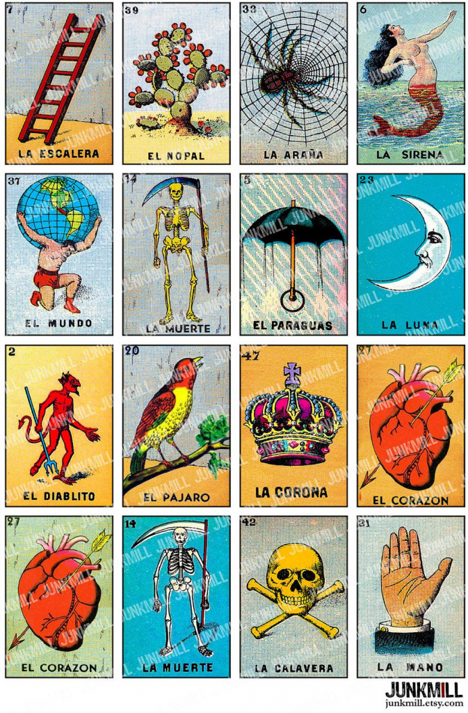 Loteria - Collage Sheet - Vintage Loteria Cards, Mexican Bingo | Mexican Loteria Cards Printable