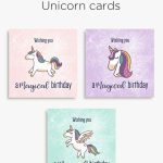 Magical Unicorn Birthday Printable Cards | Tis' Better To Give | Customized Birthday Cards Free Printable