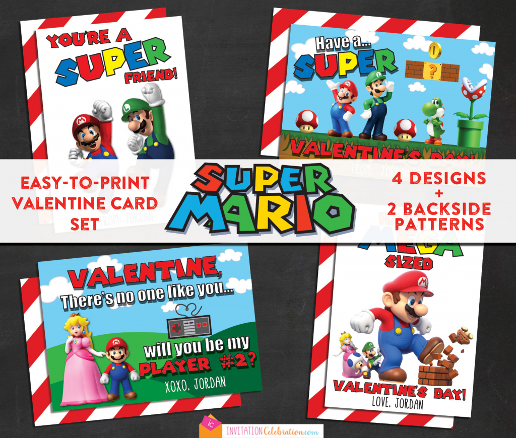 Mario Brothers Valentine Cards Printable Personalized 2 | Etsy | Printable Mario Valentines Cards