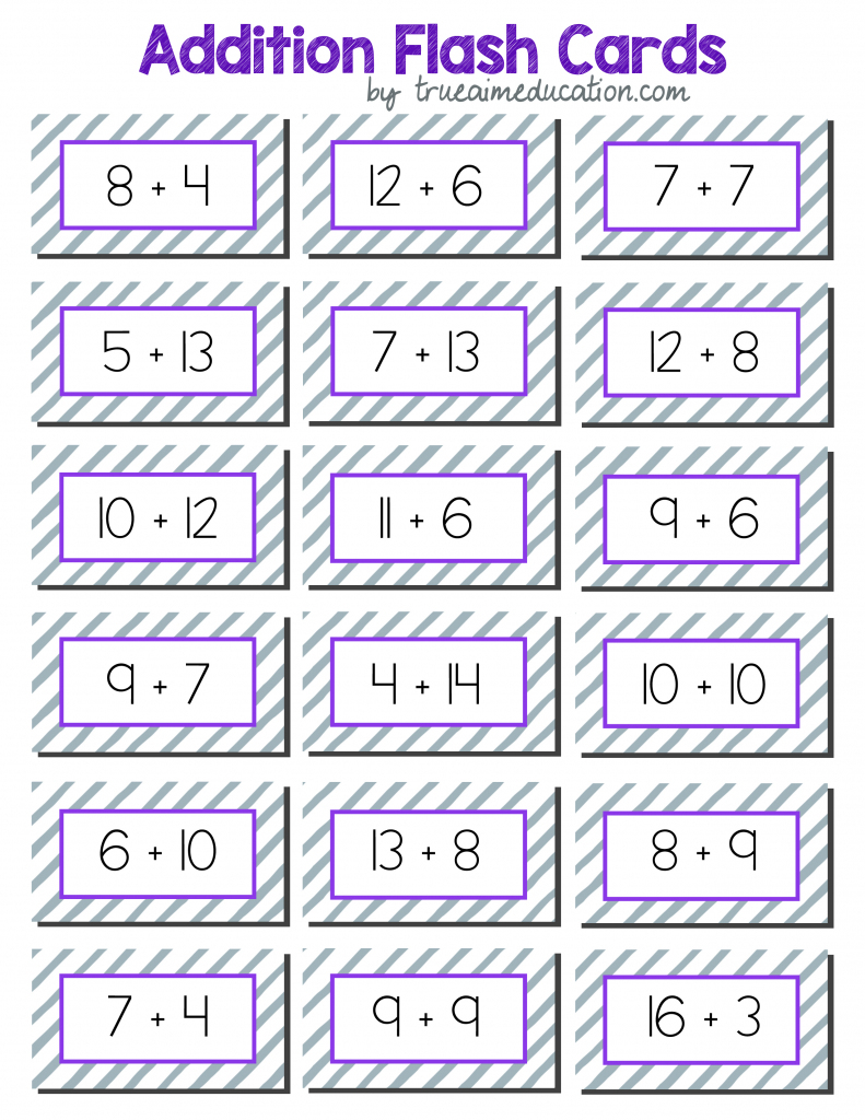 Math Games: 20+ Addition And Subtraction Games For Elementary | Flash Cards Addition And Subtraction 1 20 Printable