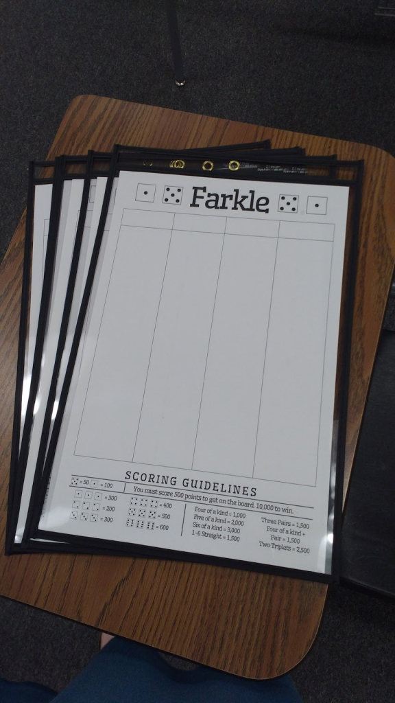 Math = Love: Free Printable Farkle Score Sheet | Farkle Score Card Printable