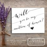 "Matron Of Honor Card Printable ""will You Be My Matron Of Honor?"" Ask 
