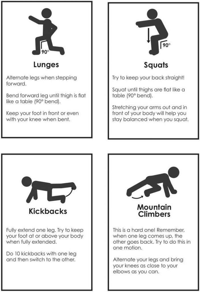 Maybe Print Out And Hang On The Wall Or Use As Station Cards | Pe | Printable Fitness Station Cards