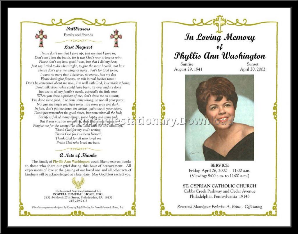Printable Memorial Cards For Funeral | Printable Card Free