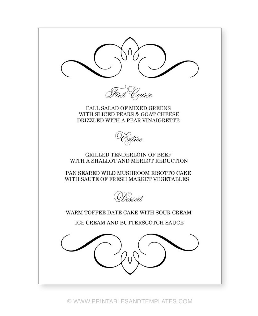 Menu Template Free Printable Printable Wedding Menu Templates Nice | Free Printable Wedding Menu Card Templates