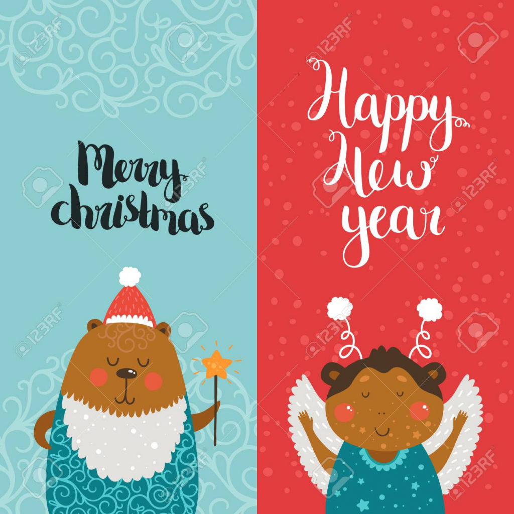 Merry Christmas And Happy New Year Cards With Cute Animals, Bear | Free Printable Happy New Year Cards