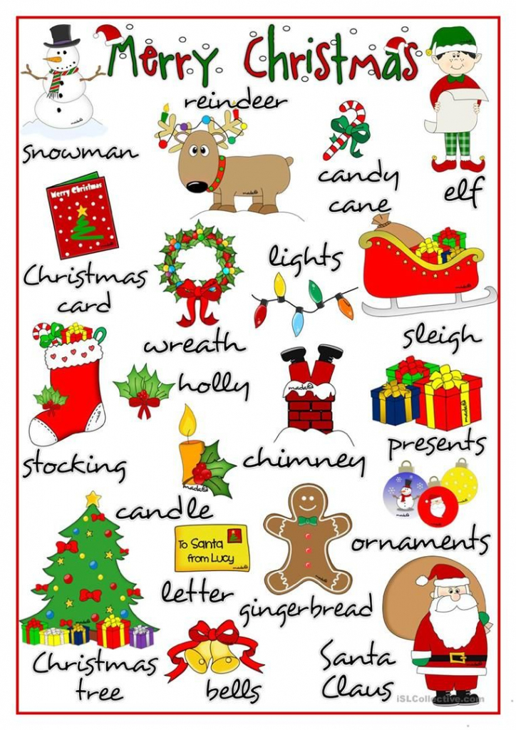 Merry Christmas - Pictionary Worksheet - Free Esl Printable | Free Printable Christmas Pictionary Cards