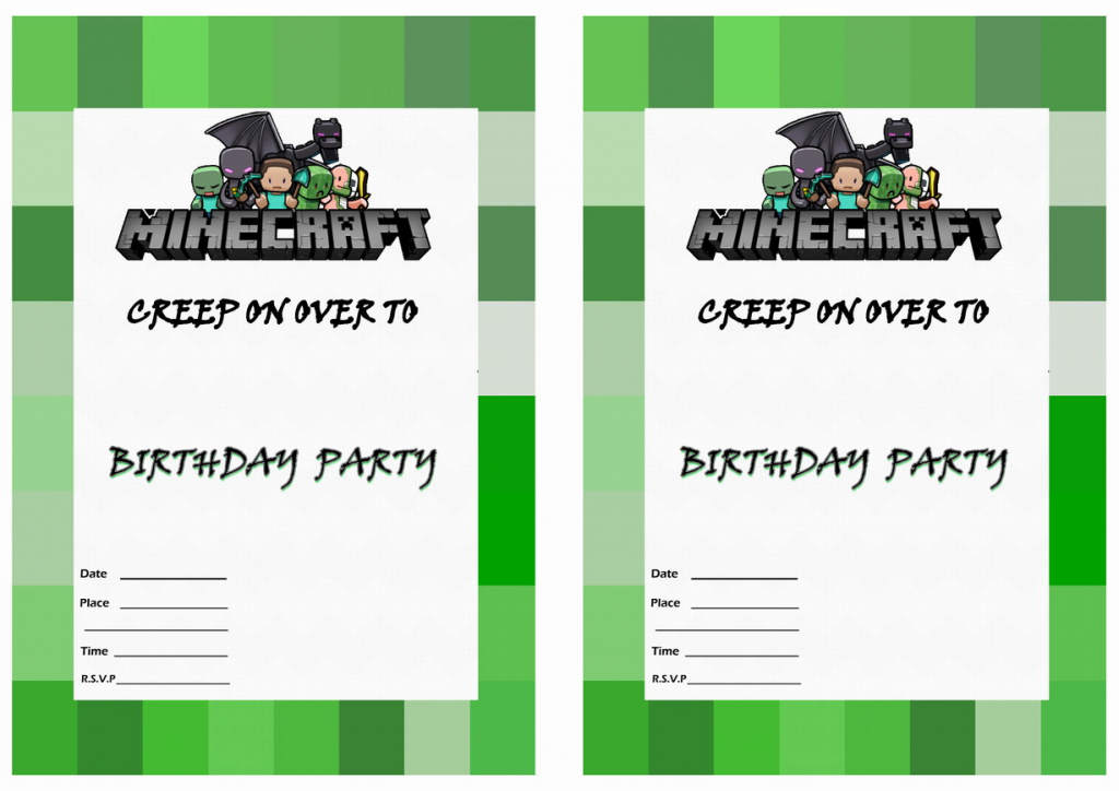 Minecraft Birthday Invitations | Birthday Printable | Minecraft Birthday Card Printable