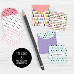 Mini Note Cards And Envelopes Set Of 9 Mini Cards   Free Printable | Free Printable Note Cards