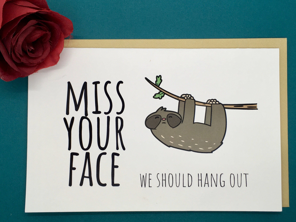 Miss Your Face - Long Distance - Miss You Card - Sloth - Printable | Printable Miss You Cards