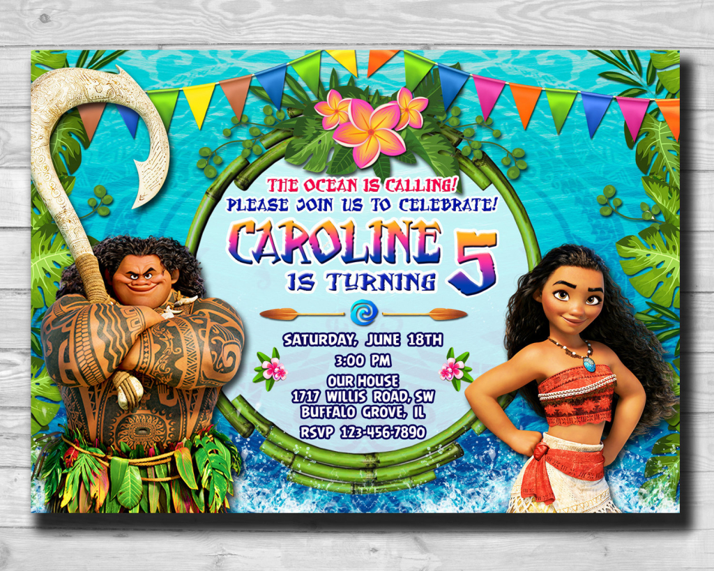 Moana-Moana Invitation-Moana Party-Moana Birthday Card-Moana | Etsy | Moana Birthday Card Printable