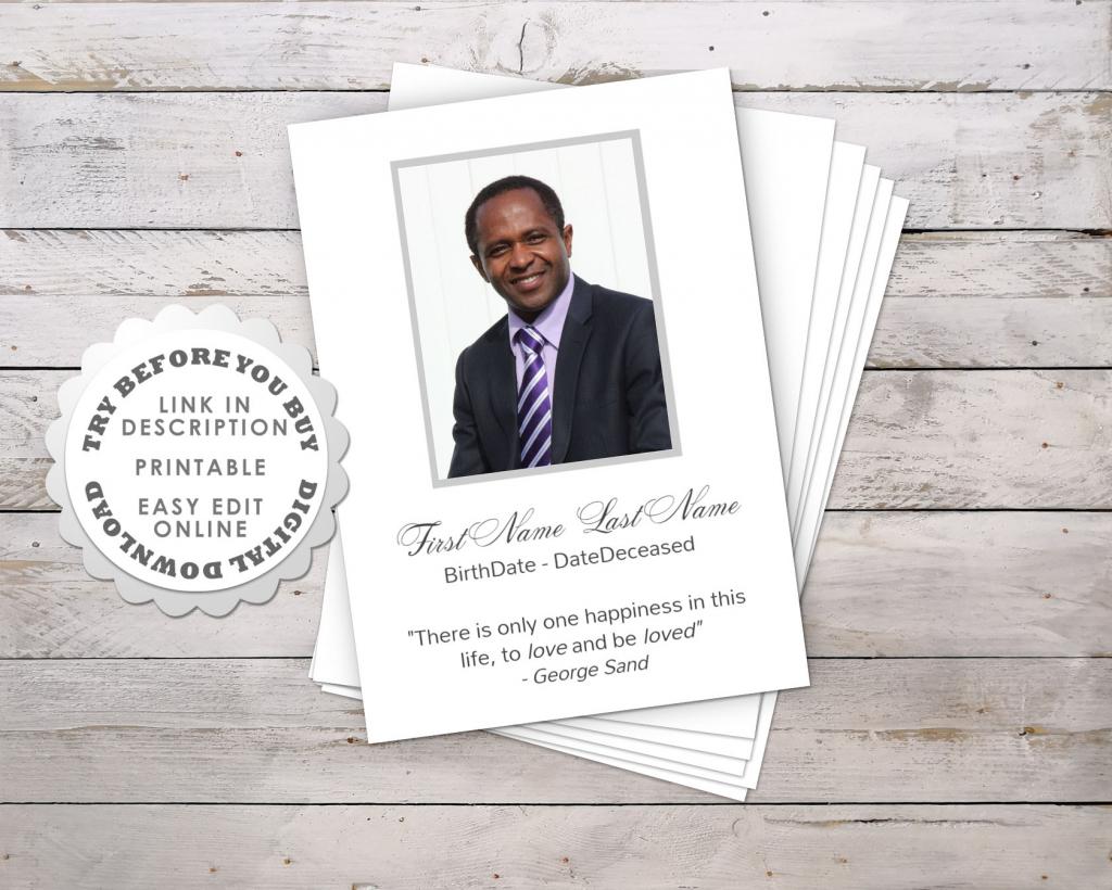 Modern Funeral Prayer Card Template • Funeral Potatoes | Free Printable Funeral Prayer Card Template