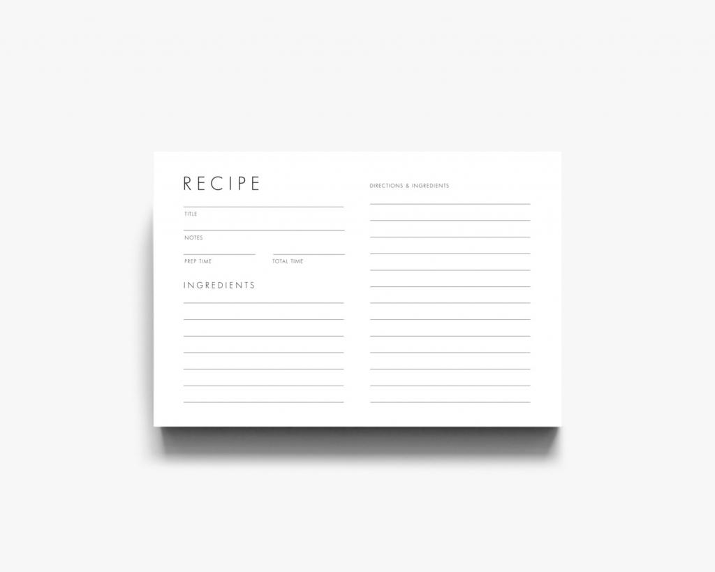 Modern Recipe Card Downloadable Recipe Card Printable Recipe | Etsy | Printable Recipe Card Template