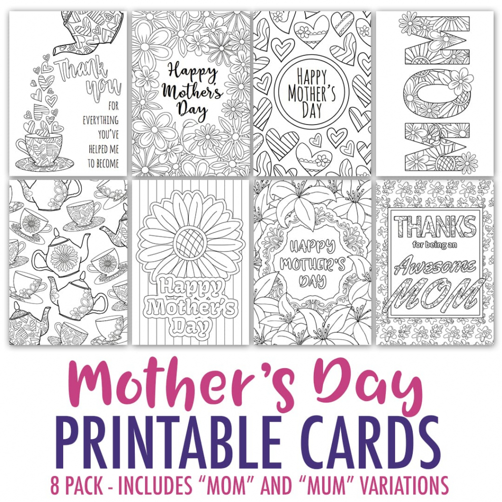 Mother's Day Coloring Cards | 8 Pack - Sarah Renae Clark - Coloring | Free Printable Mothers Day Cards To Color