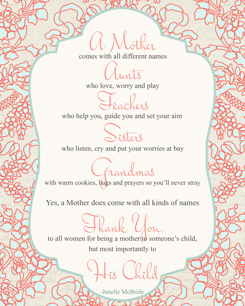 Mother's Day Poem For All Women {Printable} - Big Ideas Little Cents | Mothers Day Poems Cards Printable