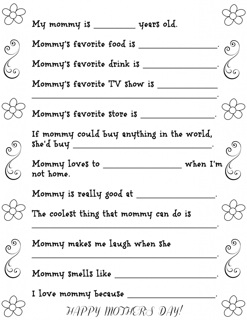 Mother's Day Questionnaire Free Printable | Fun Money Mom | Printable Mothers Day Cards For Preschoolers