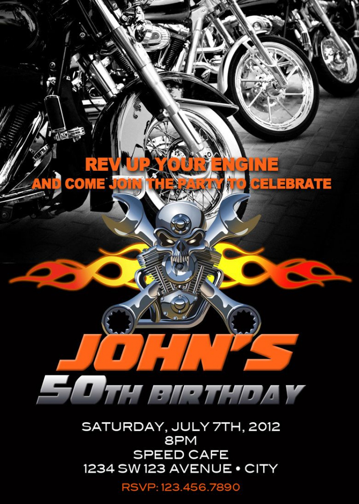 Motorcycle Invitation Printable File Diy - Bike Birthday Invitation | Harley Davidson Cards Printable