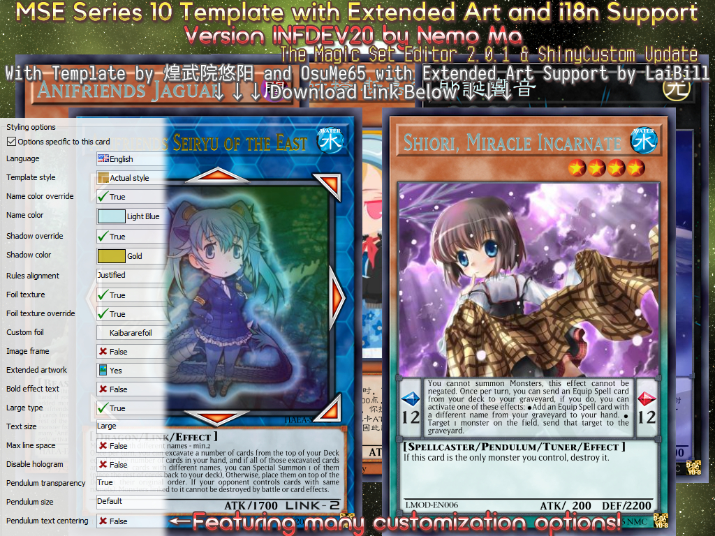 Mse]Series 10 With I18N And Extended Art Infdev21Amarillonmc On   Yugioh Card Maker Printable
