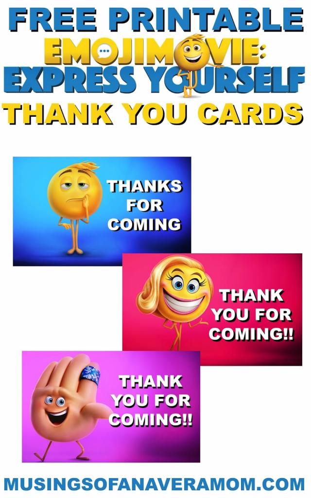 Musings Of An Average Mom: Free Printable Emoji Move Thank You Cards | Printable Emoji Thank You Cards