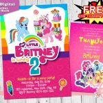 My Little Pony Invitation, My Little Pony Birthday Invitation | Free Printable My Little Pony Thank You Cards