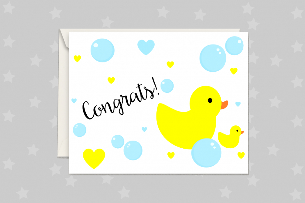 New Baby Card, Rubber Duck Greeting Card Printable | Baby Greeting Cards Printable