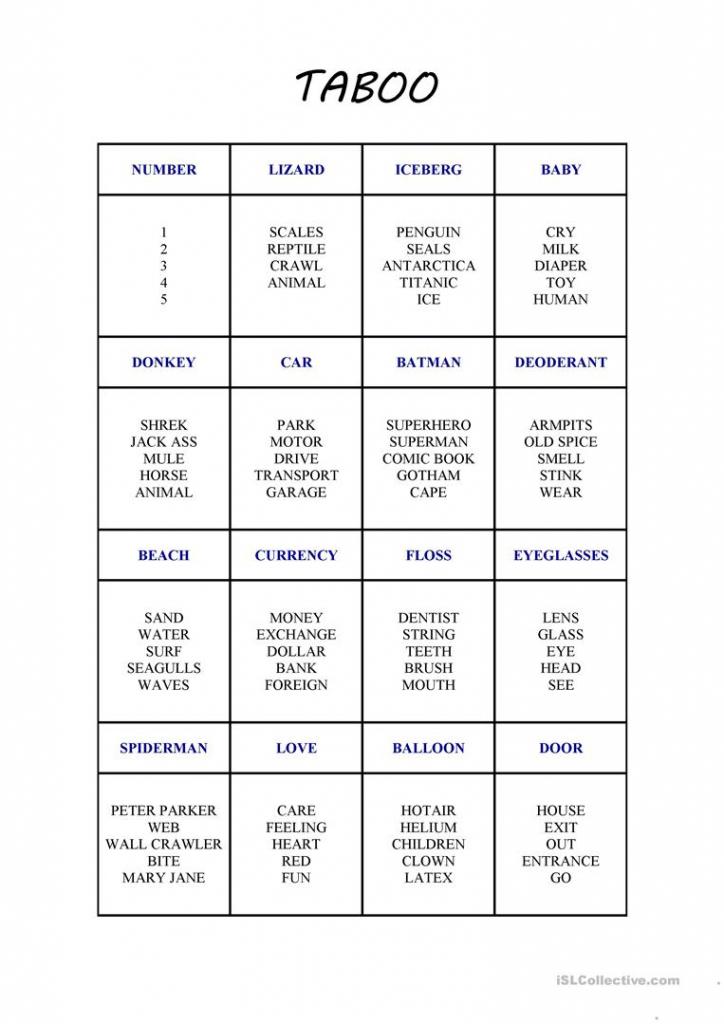 New Taboo Card Game Worksheet - Free Esl Printable Worksheets Made | Printable Taboo Cards Download