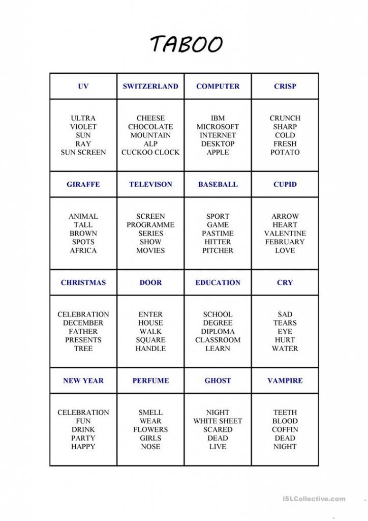 New Taboo Card Game Worksheet - Free Esl Printable Worksheets Made | Taboo Game Cards Printable