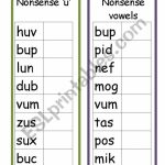 Nonsense Words   Esl Worksheettw Karen | Nonsense Word Flash Cards Printables