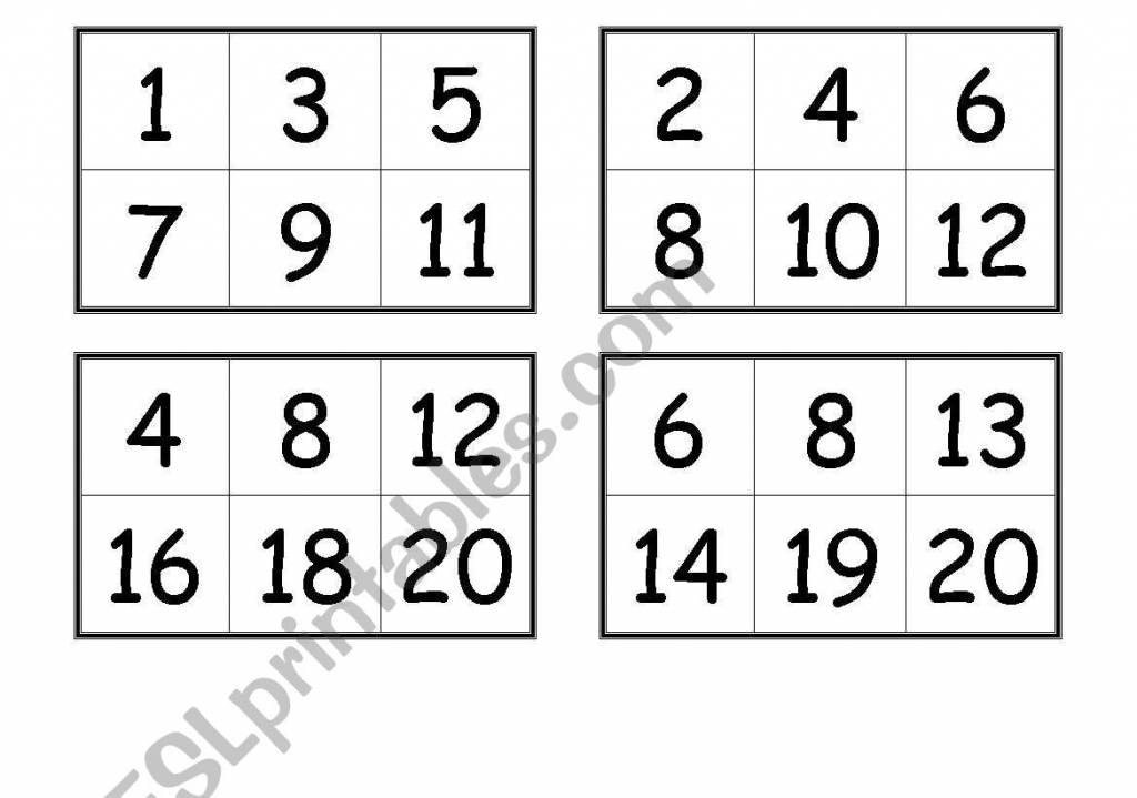 Numbers Bingo Cards (From 1 To 20) - Esl Worksheetcreguen | Printable Number Bingo Cards