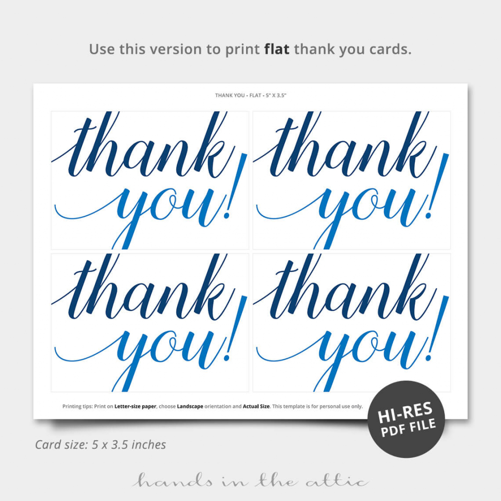 Oh Boy Blue Thank You Card | Printable Stationery | Hands In The Attic | Printable Thank You Cards Pdf