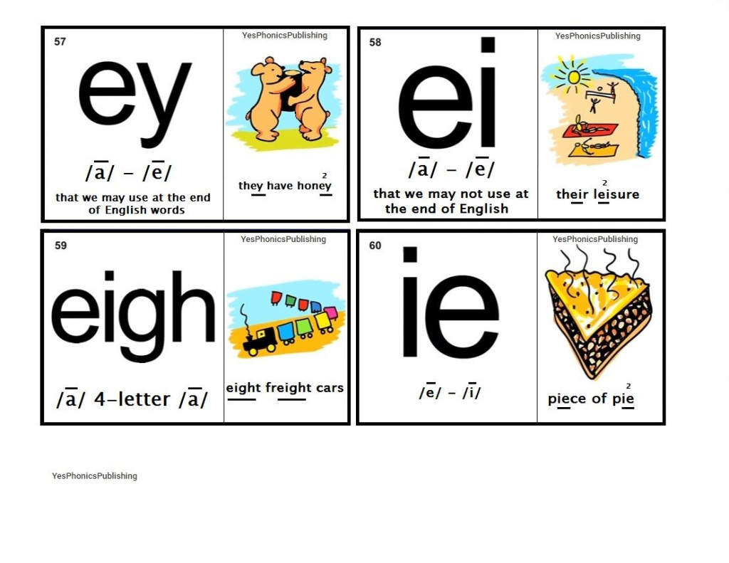 Orton-Spalding Phonograms - Illustrated Flash Cards - 'ey', 'ei | Spalding Phonogram Cards Printable