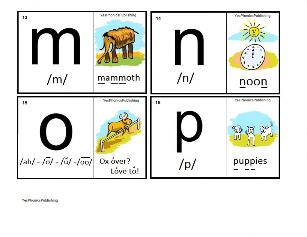 Orton-Spalding Phonograms - Illustrated Flash Cards - 'm', 'n', 'o | Spalding Phonogram Cards Printable