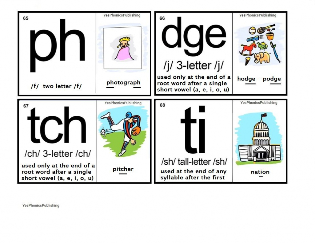 Orton-Spalding Phonograms - Illustrated Flash Cards - 'ph', 'dge | Spalding Phonogram Cards Printable