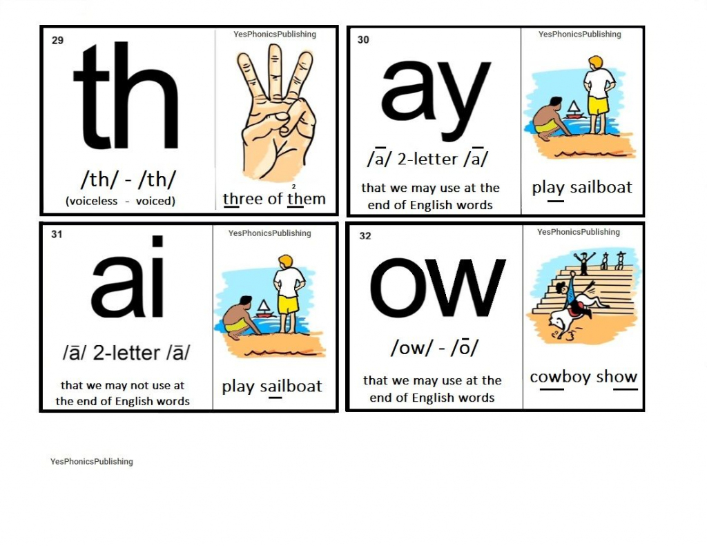 Orton-Spalding Phonograms - Illustrated Flash Cards - 'th', 'ay | Spalding Phonogram Cards Printable