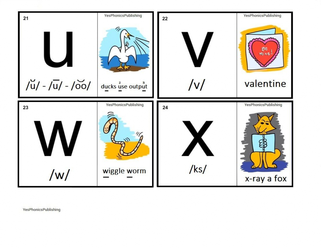 Orton-Spalding Phonograms - Illustrated Flash Cards - 'u', 'v', 'w | Spalding Phonogram Cards Printable